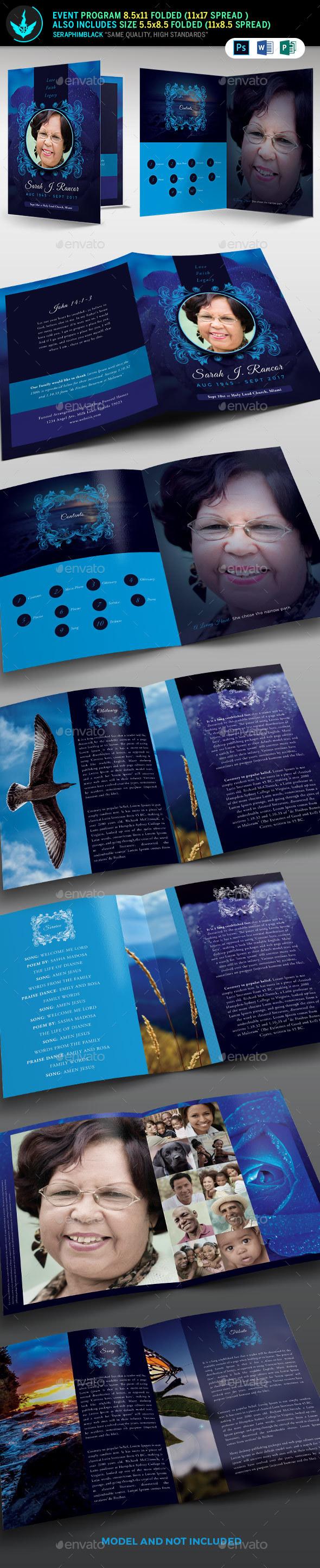 Blue Rose Funeral Program Template - Informational Brochures