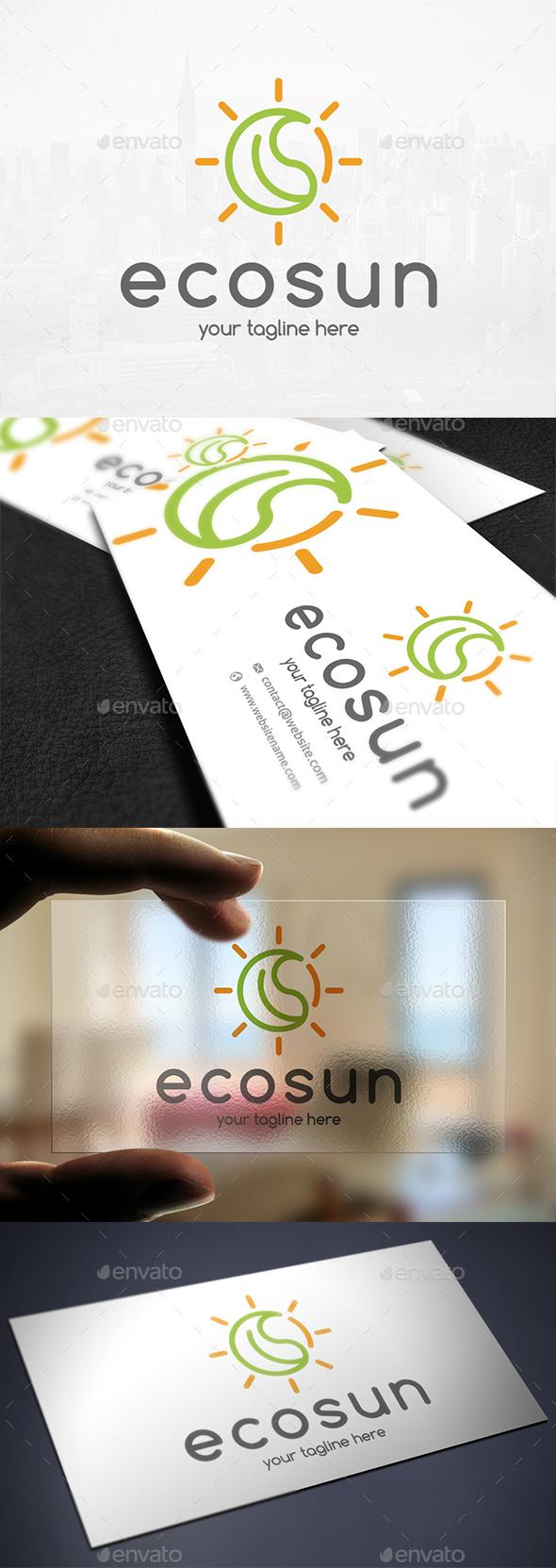 Eco Leaf Sun Logo - Nature Logo Templates