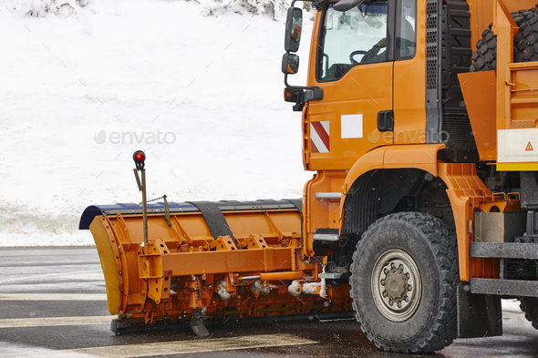Snow blower truck ready to work. Winter time. Snowing. Horizontal - Stock Photo - Images