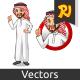 Set of Businessman Saudi Arab Man Inside The Circle Logo Concept