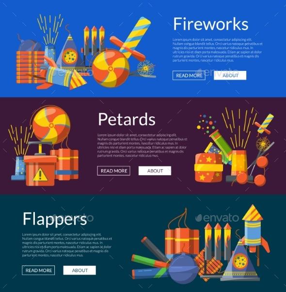 Vector Cartoon Pyrotechnics Banners Illustration - Miscellaneous Vectors