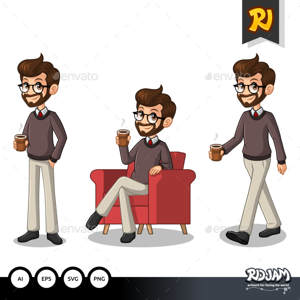 Set of Hipster Businessman Making a Break with Drinking a Coffee - People Characters
