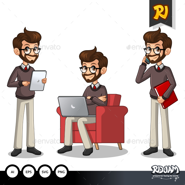 Set of Hipster Businessman Working on Gadgets - People Characters