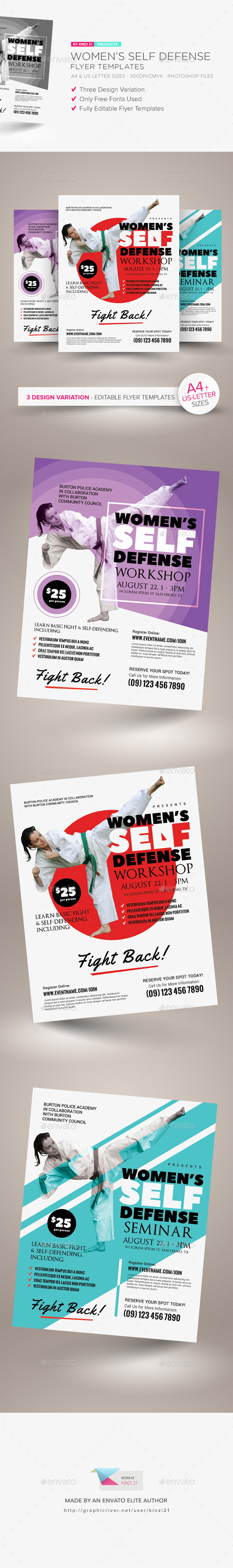 Womens Self Defense Flyer Templates By Kinzishots Graphicriver
