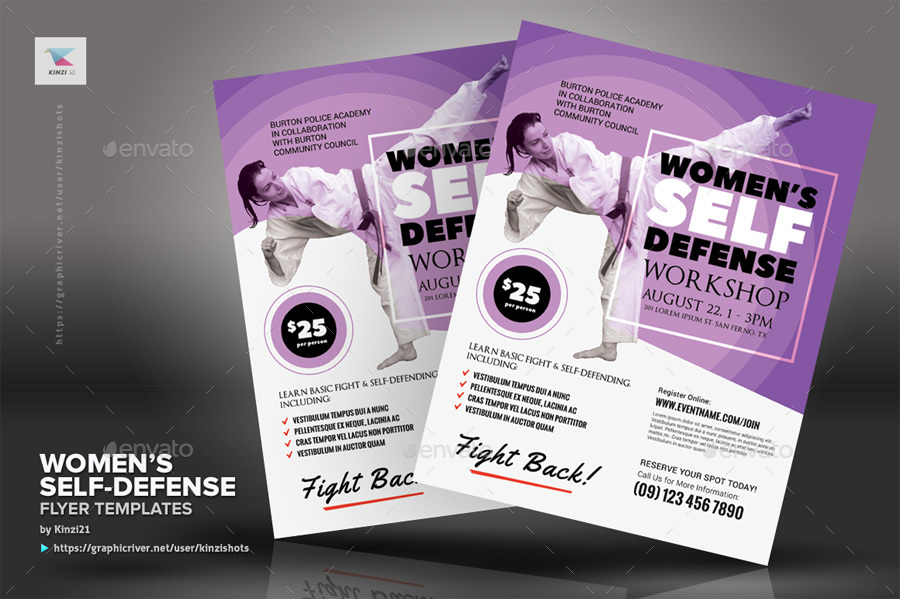 WomenS SelfDefense Flyer Templates By Kinzishots  Graphicriver