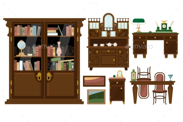 Flat Vector Set of Classic Wooden Furniture  - Objects Vectors