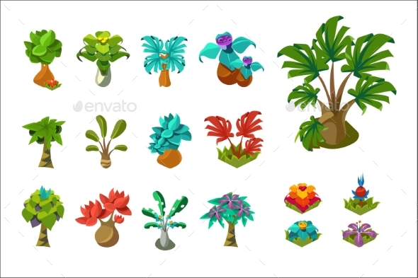 Colorful Fantasy Tropical Trees and Plants, Nature - Animals Characters