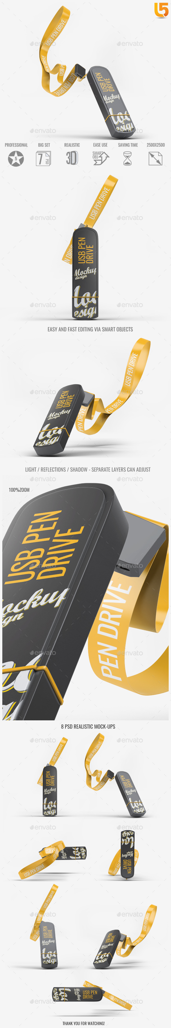 USB Pen Drive Mock-Up - Miscellaneous Product Mock-Ups