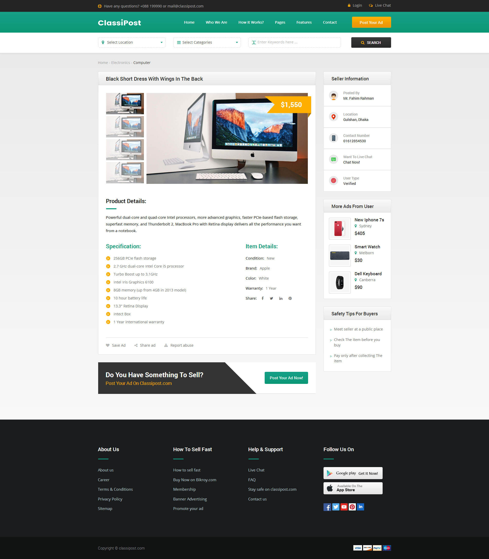 ClassiPost Classified Ads HTML Template By RadiusTheme ThemeForest - Product ad template