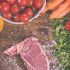 top view of raw steak on wooden table - PhotoDune Item for Sale