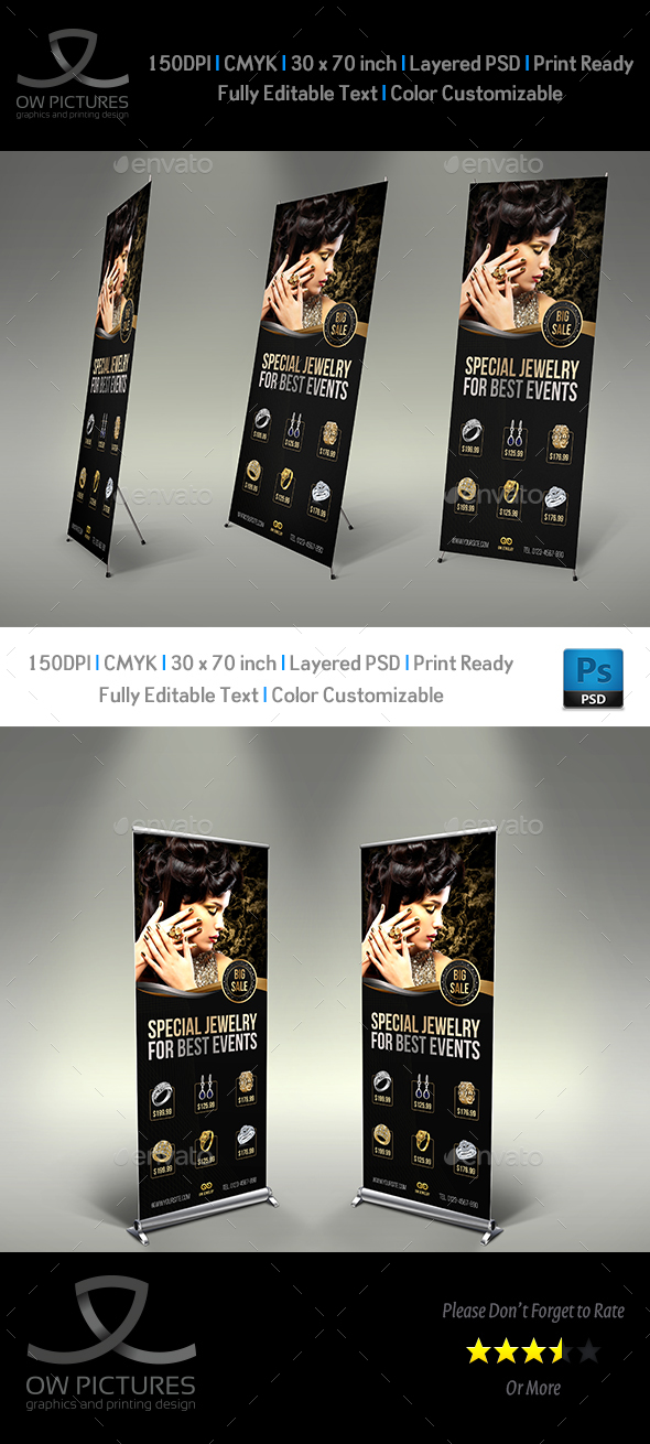 Jewelry Signage Banner Roll Up Template Vol.2 - Signage Print Templates