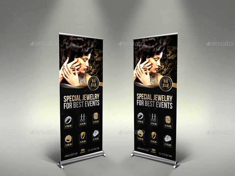Jewelry Signage Banner Roll Up Template Vol.2