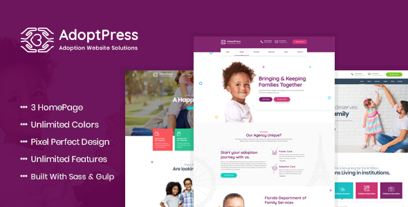Image of AdoptPress - Child & Pet Adoption Charity HTML Template