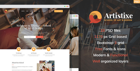 Artistixe - School of Art & Design PSD Template - Art Creative