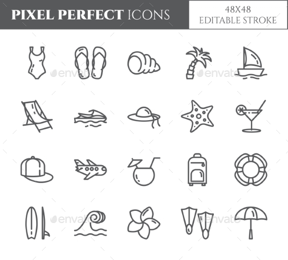 Summer Vacation Pixel Perfect Editable Icons