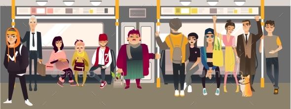 Vector Cartoon People in Underground Train - Miscellaneous Vectors