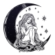 Young Girl Witch with Long Wavy Hair Sitting on Moon - GraphicRiver Item for Sale