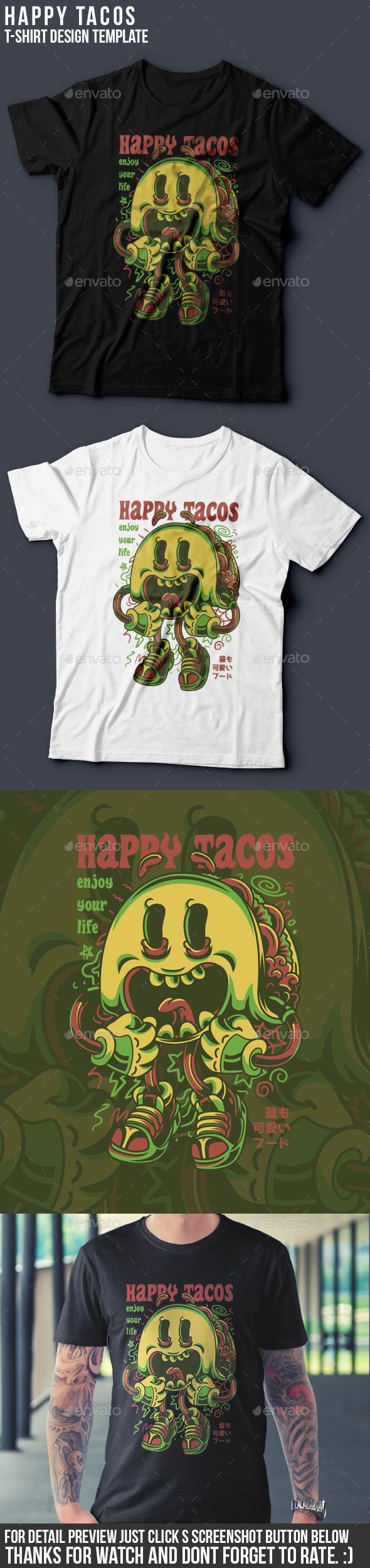 Happy Tacos T-Shirt Design