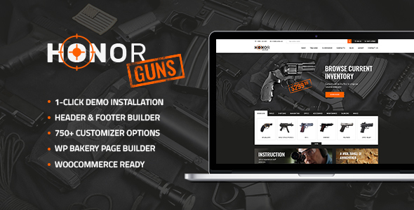 Honor | Shooting Club & Weapon Store WordPress Theme - Retail WordPress