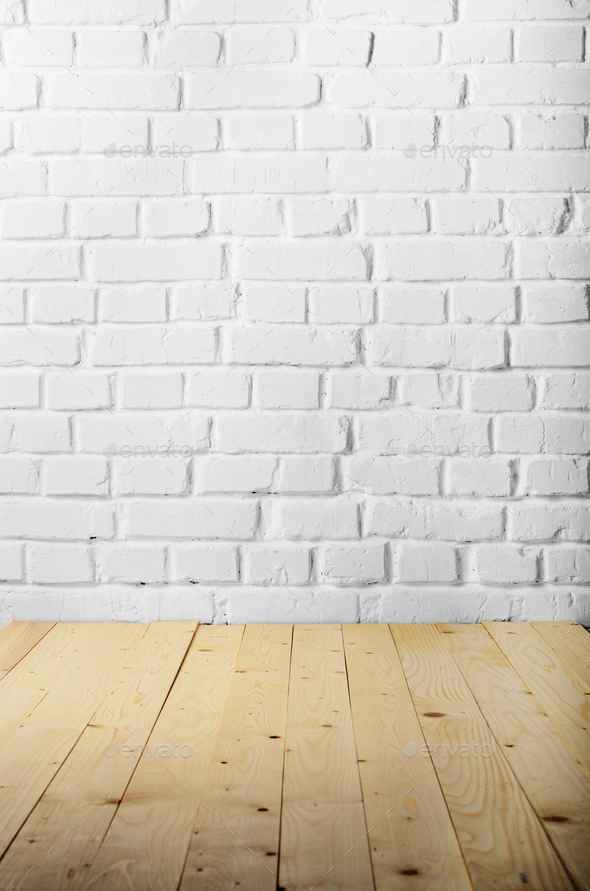 White Brick Wall Of Painted Genuine Clay Blocks And Wooden Floor Stock Photo By E Mikh