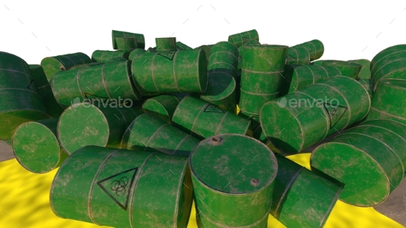 Barrels of Biological Waste. Isolated. 3D Render. - Objects 3D Renders