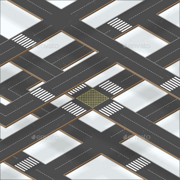 Multilevel Crossroad Sections with Shadows - Objects Vectors