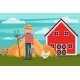 Farmer with Pitchfork and Bucket - GraphicRiver Item for Sale