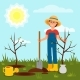 Cheerful Girl Planting Tree. Young Woman Working - GraphicRiver Item for Sale