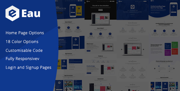 Eau - Landing Page Template - Technology Site Templates