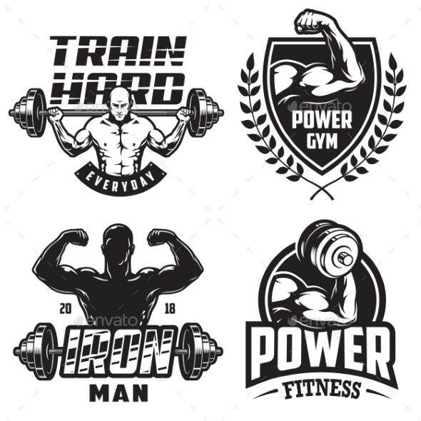 Set of Bodybuilding Emblems - Miscellaneous Vectors