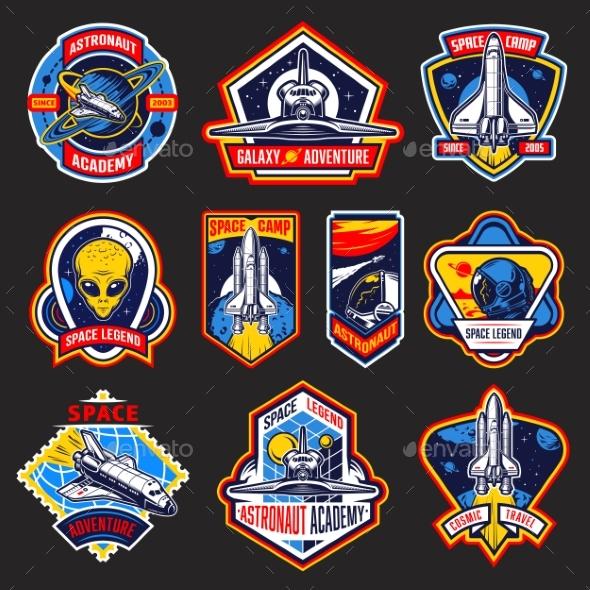 Set of Vintage Space and Astronaut Badges - Miscellaneous Vectors