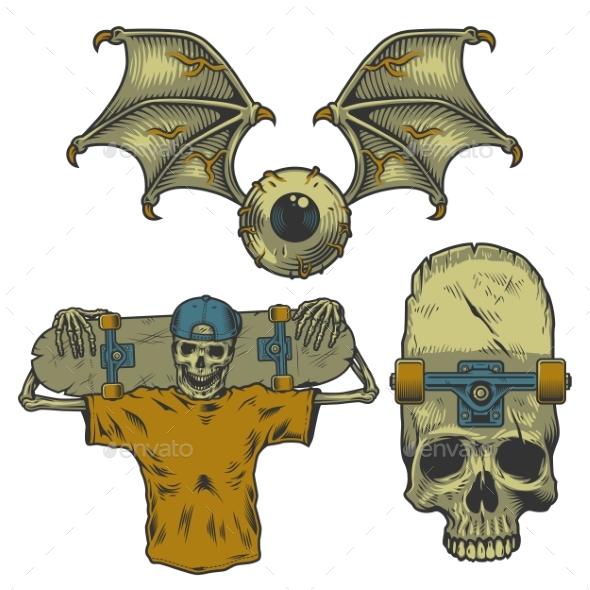 Set of Skateborading Objects - Miscellaneous Vectors
