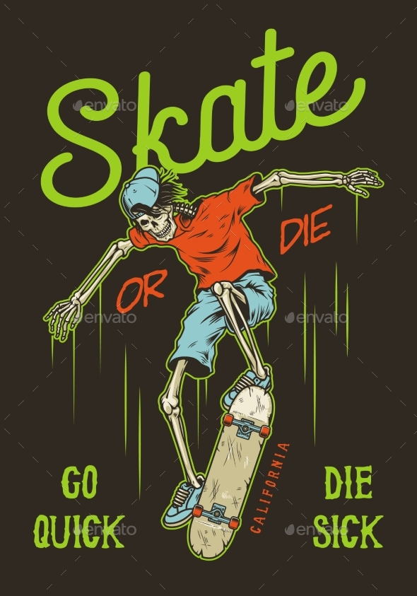 Vintage Skateboarding Poster - Sports/Activity Conceptual
