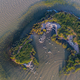 dalmatian pelicans (pelecanus crispus) in Danube Delta Romania. Aerial view with drone. - PhotoDune Item for Sale