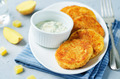 Mashed Potato Cheese Pancakes with Greek Yogurt Dill Sauce - PhotoDune Item for Sale