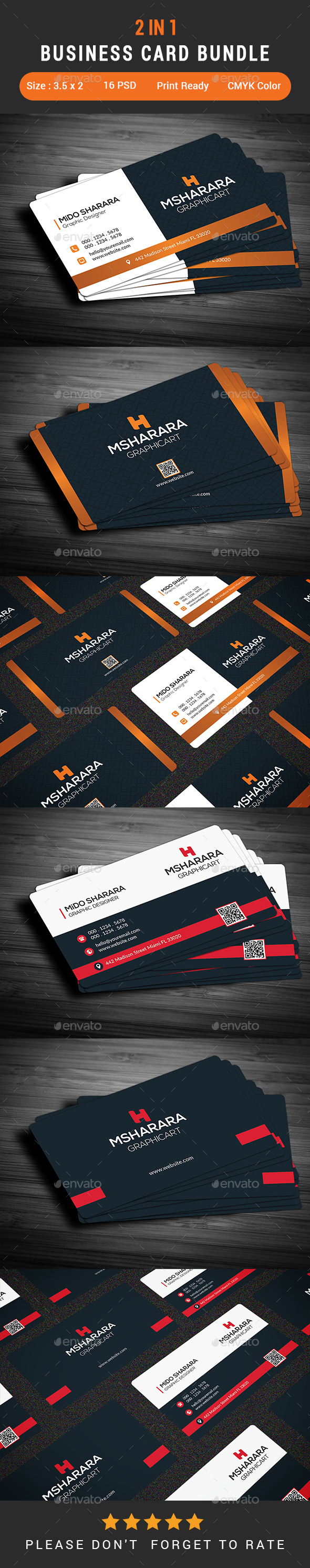 2 in 1 Business Card Bundle by Alpha-Designs | GraphicRiver