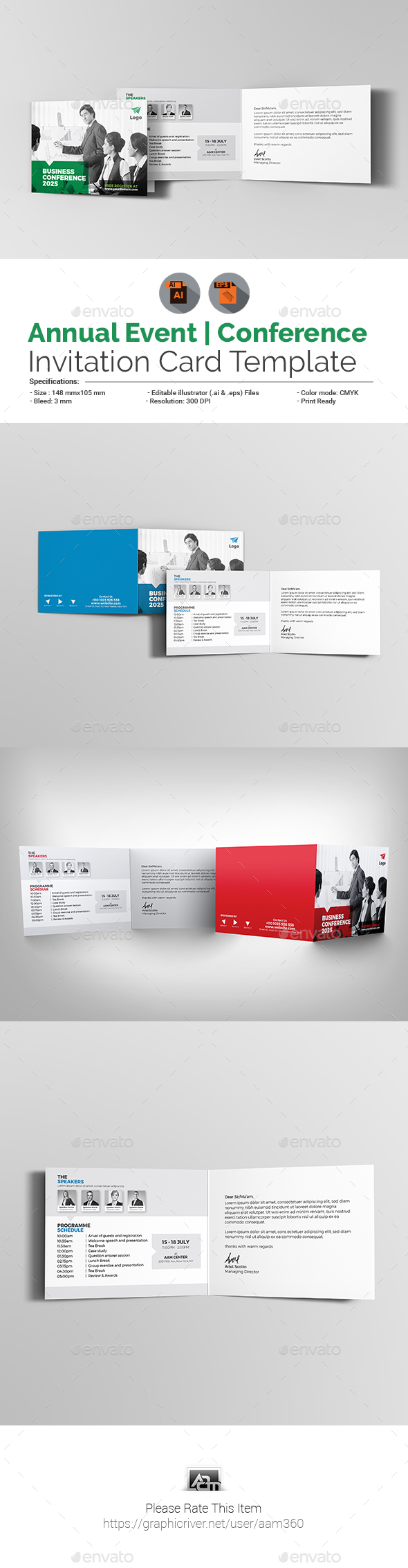 Annual Event / Conference Invitation Card - Cards & Invites Print Templates