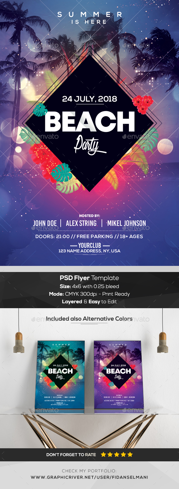 Beach Party - Geometric PSD Flyer Template - Events Flyers