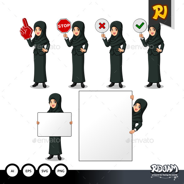 Set of Businesswoman in Black Suit with Veil Holding Sign Board - People Characters