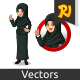 Set of Businesswoman in Black Suit with Veil Inside The Circle Logo Concept