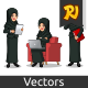 Set of Businesswoman in Black Suit with Veil Working on Gadgets