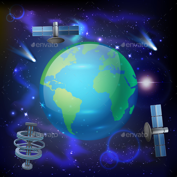 Artificial Satellites Earth Composition - Communications Technology