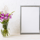 Silver frame mockup with purple burdocks in jug - PhotoDune Item for Sale