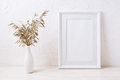 White frame mockup with dried grass in vase - PhotoDune Item for Sale