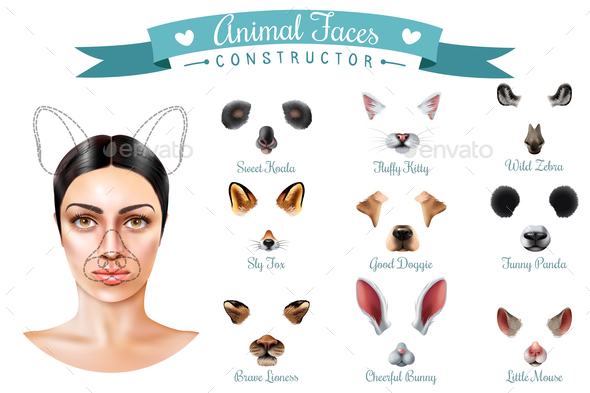 Animal Faces Constructor Icon Set - Animals Characters