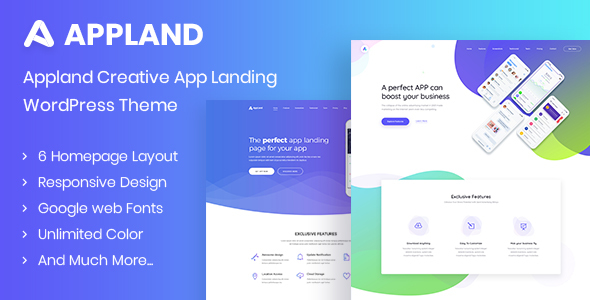 Appland - Creative App Landing WordPress Theme Free Download | Nulled