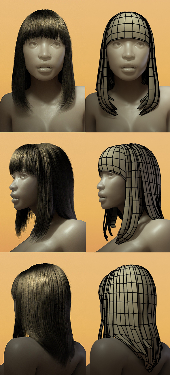 Female Hair Style 001 By Bitgem 3docean