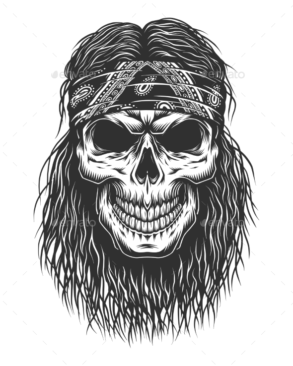Skull with Hair - Miscellaneous Vectors