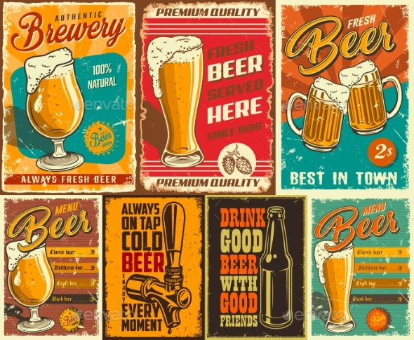 Set of Beer Posters - Food Objects