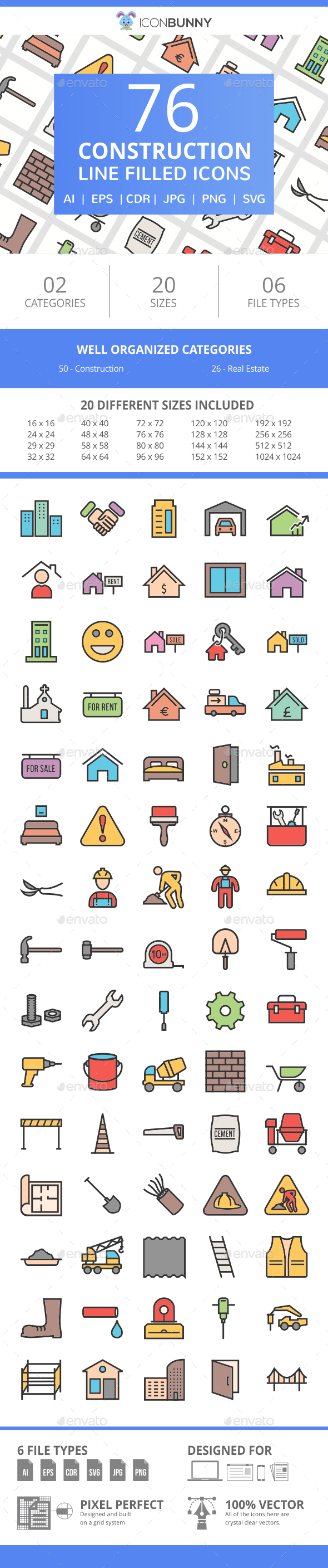 76 Construction Filled Line Icons - Icons